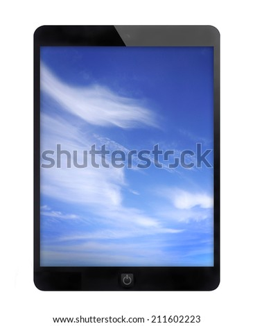 Black tablet PC with cloud background, Isolated white background.
