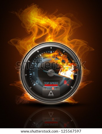 Black Tachometer on fire. High resolution. 3D image