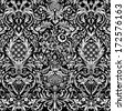 Black Vintage Detailed Lace Damask Pattern - stock photo