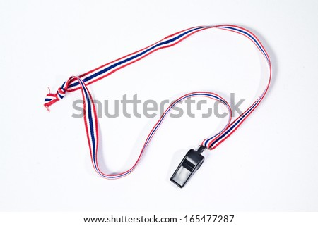 black whistle with Thailand national flag lanyard on white background