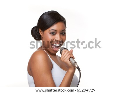 Black Woman Singing karaoke