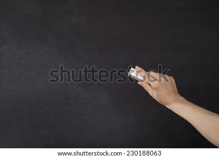 Blackboard / chalkboard. Right hand writing with copyspace for text