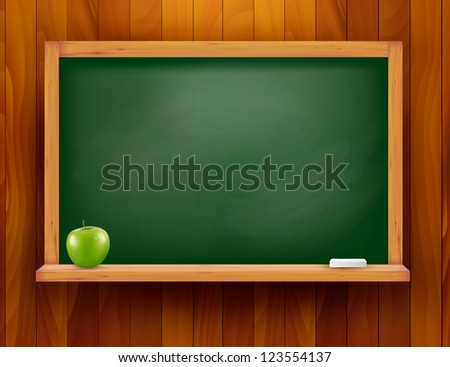 Blackboard with green apple on wooden background. Raster version of vector.