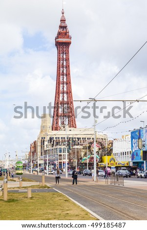 Blackpool, England.,UK- August 8 2016 : The golden mile Blackpool with it's famous tourist attractions Blackpool tower and arcades.