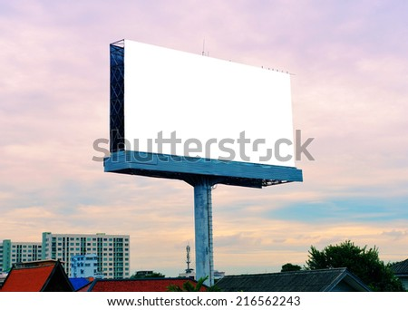 blank advertising billboard at twilight