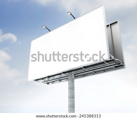 Blank billboard against sky.