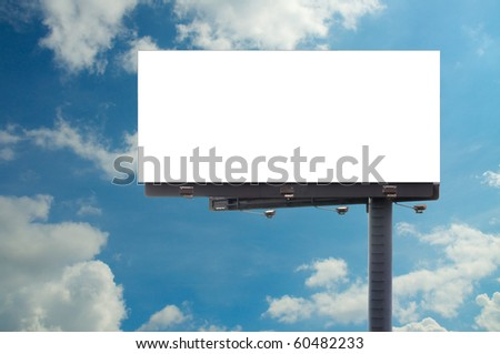 blank billboard and cloudy background