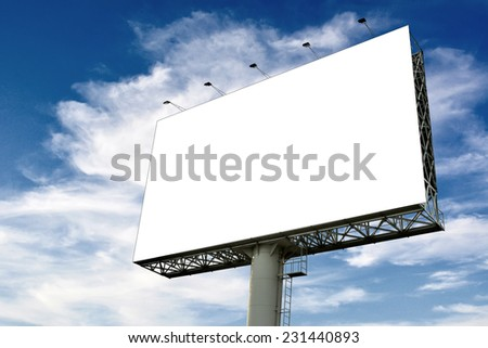 Blank billboard for new advertisement with sky background