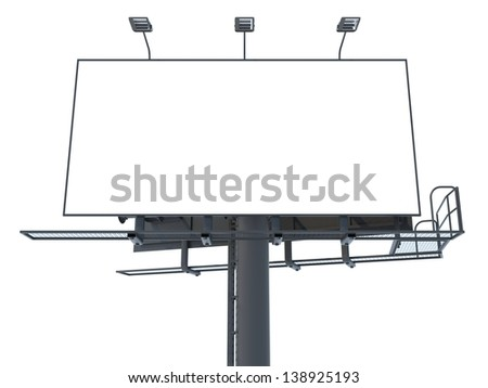 Blank Billboard (Front View) Isolated on White Background for Your Advertisement.