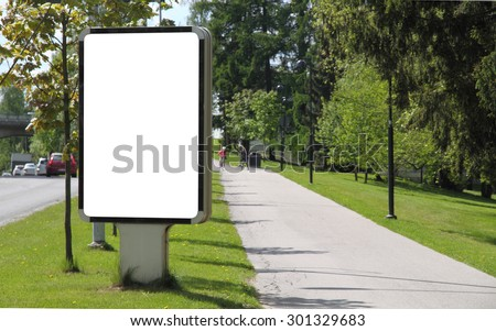 Blank billboard on a street