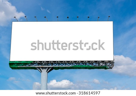 Blank billboard on beautiful sky for advertisement