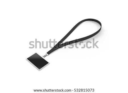 Blank black name bagde with dark lace mockup, 3d rendering. Plain horizontal namebadge mock up with cotton band isolated. Clear business pass design template. Corporate branding lanyard.