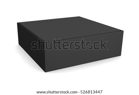 Blank black square box isolated on white background. 3d illustration
