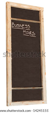 Blank blackboard with business hours caption
