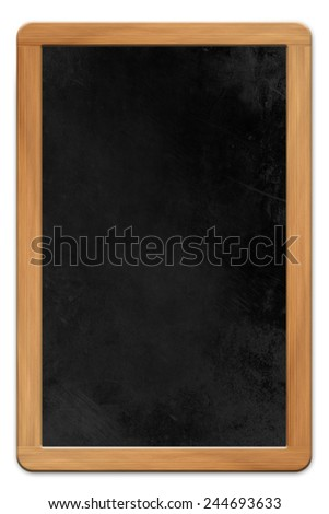 Blank blackboard with wooden frame isolated on white background