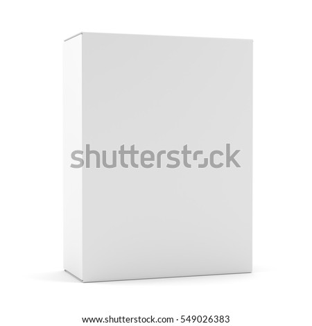 Blank box isolated over white background. 3D illustration