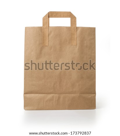 Blank brown paper bag isolated on white background. With clipping path