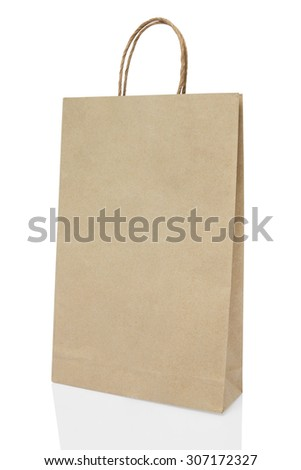 Blank brown paper bag on white background include path