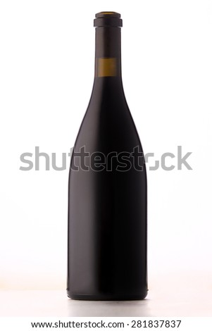 Blank Burgundy style red wine bottle with no branding or label on white background.