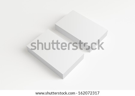 Blank Business Cards isolated on white with soft shadows