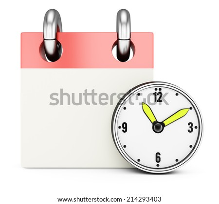 Blank calendar with clock isolated on white background. 3d rendering image