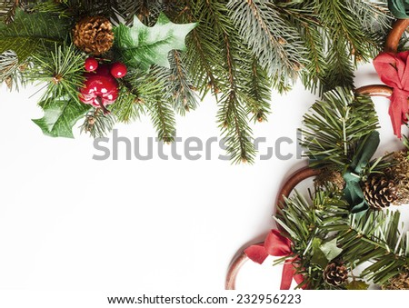 Blank Christmas card with pine needles and decorations