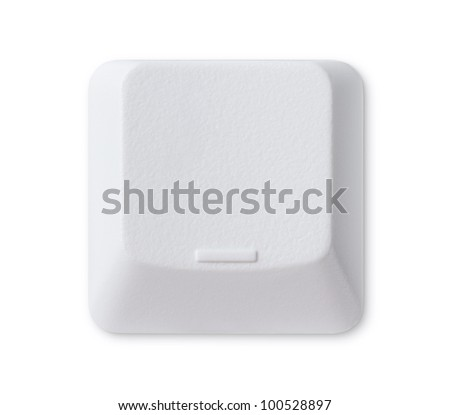 Blank computer key isolated on white background with clipping path