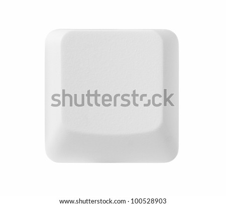 Blank computer key isolated on white background with copy space, clipping path included