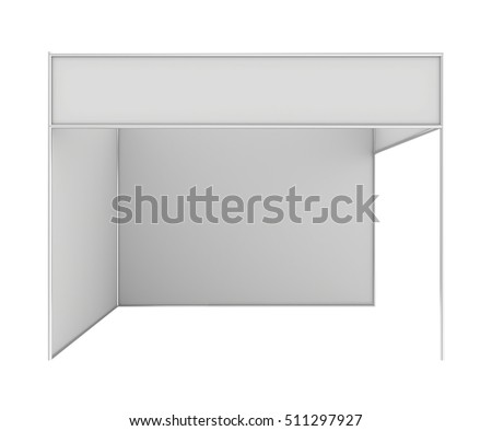 Blank exhibition stand. 3d rendering isolated on white background.
