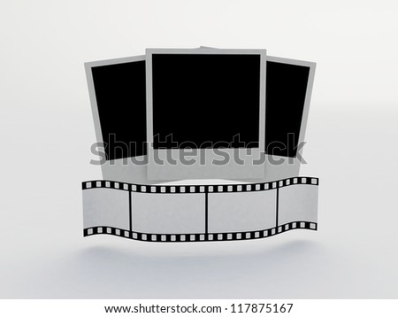 Blank film strip on a white background