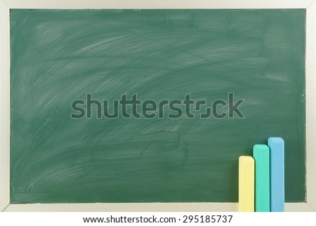 Blank green chalkboard, school board background with chalk