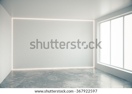 blank grey wall in empty room with big windows and concrete floor 3d render