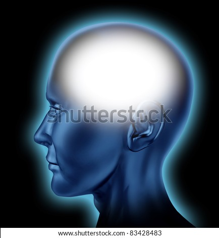 Blank human head with white area for editing representing the concept of thinking and intelligence of the mind.
