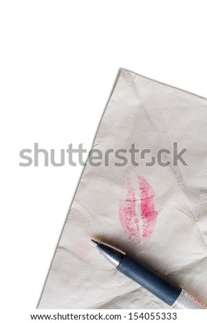Blank kiss tissue with pen