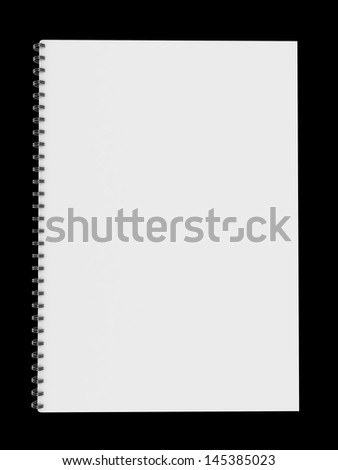 blank notebook isolated on black background