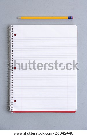 Blank notebook on desk at school or office