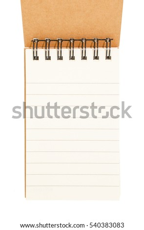 Blank notebook recycled paper on white background
