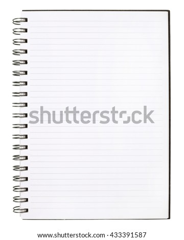 Blank Notebook with Line Paper on cement wall Background.