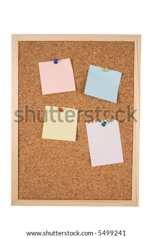 Blank notes on a isolated corkboard with clipping path included.