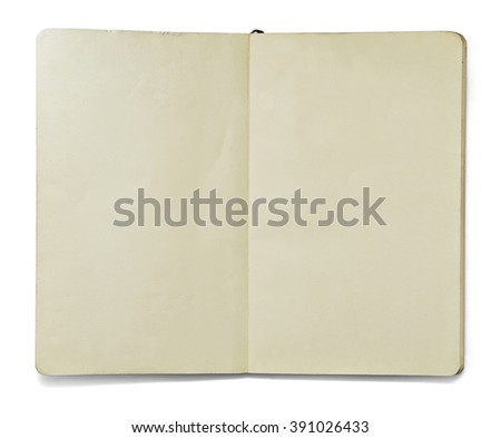 Blank open note book isolated on white background in front view. Clipping path.