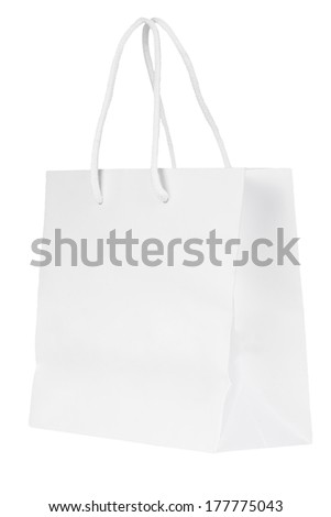 Blank paper bag isolated on a white background