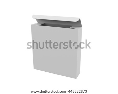 Blank paper box for food or other things, isolated on white background, Mockup. 3D illustration