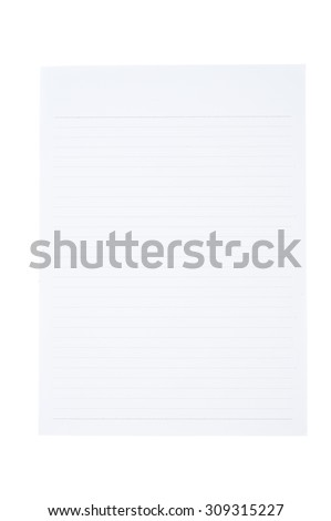 Blank paper isolated on white background and Clipping path