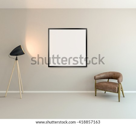 Blank picture frame background. 3D illustration