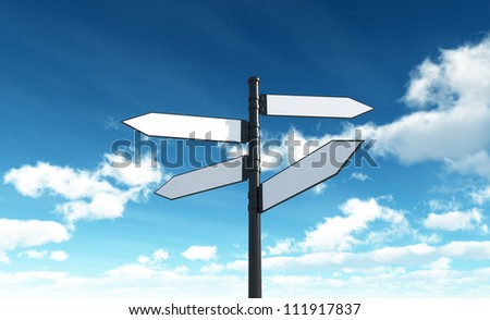 Blank roadsign - Isolated on Sky Background