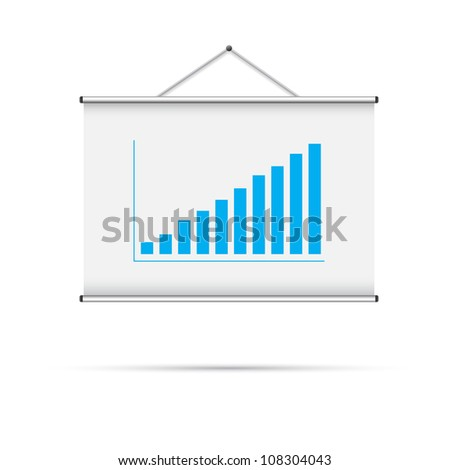 Blank roll up poster with blue graph vector