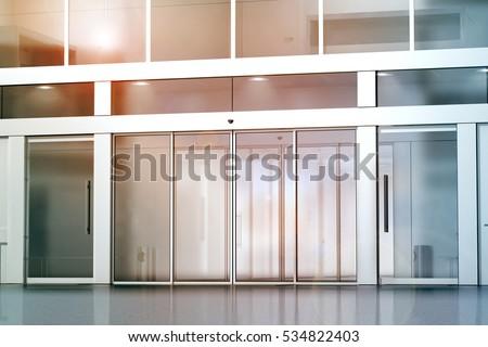 Blank Sliding Glass Doors Entrance Mockup Stock Illustration