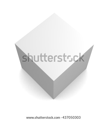 blank square box isolated on white background.  3d render