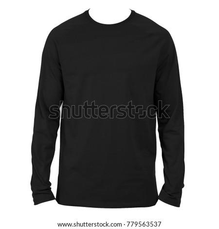 Black Plain Long Sleeved Cotton Tshirt Stock Photo 778499527 ...