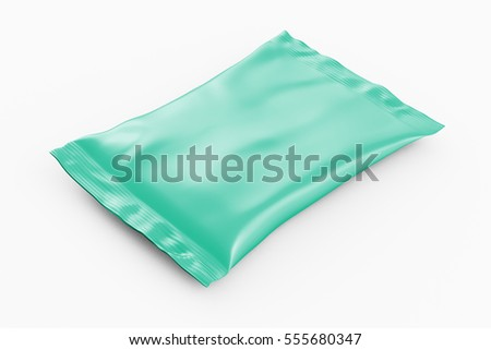 Blank turquoise foil snack pillow bag on white background. Isolated include clipping path. 3d render